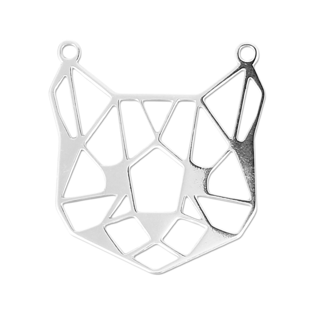 925 Sterling Silver Origami Spacer Pendant Cat Head 19x11mm X1