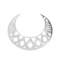 925 Sterling Silver openwork Spacer Half-moon 6 holes 25x20 mm x1