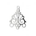 925 Sterling Silver Filigree Spacer 3 loops 17x13 mm x1