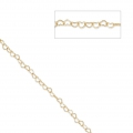 925 Sterling Silver Chain Heart links 4.5 mm - 24 carat Gold Plated x50cm