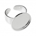 925 Sterling Silver Ring setting for round flat bottom cabochon 18 mm x1