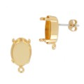 Brass earstuds setting for Swarovski 4120 14x10 mm Gold Tone x2