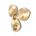 Brass flower pendant with holder 15 mm White/Gold Satin x1