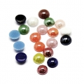 Cabochons in pearlescent resin 8 mm Multicolored x20