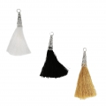 Assortment of imitation silk tassels with filigree terminator 75 mm Gold x6
