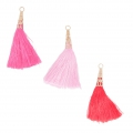 Assortment of imitation silk tassels with filigree terminator 75 mm Pink x6