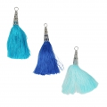 Assortment of imitation silk tassels with filigree terminator 75 mm Blue x6