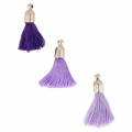 Assortment of imitation silk tassels with terminator 30 mm Violet x8