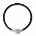 Rubber Bracelet 16 cm with a 925 Sterling silver magnetic clasp x1