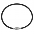 Rubber Bracelet 19.5 cm with a 925 Sterling silver magnetic clasp x1