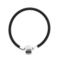 Rubber Bracelet 15 cm with a 925 Sterling silver magnetic clasp x1