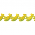 Fruity pattern lace ribbon - Banana 30 mm Yellow x 1m