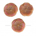 Glass Hawaiian Flowers Beads 12 mm Opaque Rose Travertin x10