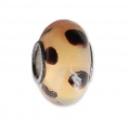 Big hole Murano and 925 Sterling Silver charm bead - Glassbeads - Orange Black Dots x1