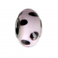 Big hole Murano and 925 Sterling Silver charm bead - Glassbeads - Pink Black Dots x1