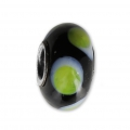 Big hole Murano and 925 Sterling Silver charm bead - Glassbeads - Black Green Dots x1