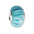 Big hole Murano and 925 Sterling Silver charm bead - Glassbeads - Multi Blue x1