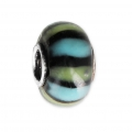 Big hole Murano and 925 Sterling Silver charm bead - Glassbeads - Blue/Green/Black x1