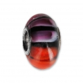 Big hole Murano and 925 Sterling Silver charm bead - Glassbeads - Orange/Pink/Black x1
