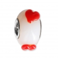 Big hole Murano and 925 Sterling Silver charm bead - Relief Heart - White/Red x1