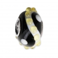 Big hole Murano and 925 Sterling Silver charm bead - Relief Dots - Black/Yellow x1