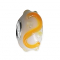 Big hole Murano and 925 Sterling Silver charm bead - Relief Dots - White/Yellow x1