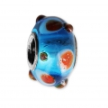 Big hole Murano and 925 Sterling Silver charm bead - Relief Dots - Blue/Orange x1