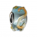 Big hole Murano and 925 Sterling Silver charm bead - Relief Dots - Aqua Blue/Orange x1