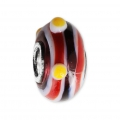 Big hole Murano and 925 Sterling Silver charm bead - Relief Dots - Black/Red/Yellow x1