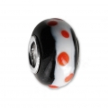 Big hole Murano and 925 Sterling Silver charm bead - Dots - Black/White/Orange x1