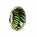 Big hole Murano and 925 Sterling Silver charm bead - Stripe - Green x1