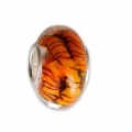 Big hole Murano and 925 Sterling Silver charm bead - Stripe - Orange x1
