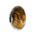 Big hole Murano and 925 Sterling Silver charm bead - Stripe - Brown x1
