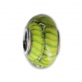 Big hole Murano and 925 Sterling Silver charm bead - Stripe - Green Anise x1