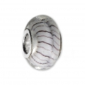 Big hole Murano and 925 Sterling Silver charm bead - Stripe -White x1