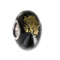Big hole Murano and 925 Sterling Silver charm bead - gold-leaf - Black x1