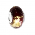 Big hole Murano and 925 Sterling Silver charm bead - gold-leaf - Red x1