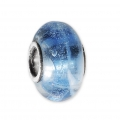 Big hole Murano and 925 Sterling Silver charm bead - Glassbeads - Blue x1