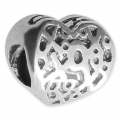 Big hole Heart bead 11x10 mm Oxidized 925 Sterling Silver x1