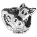 Big hole Cow bead 14x12 mm Oxidized 925 Sterling Silver x1