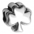 Big hole clover bead 11x10 mm Oxidized 925 Sterling Silver x1