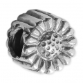 Big hole Flower bead 11 mm Oxidized 925 Sterling Silver x1