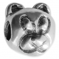 Big hole Teddy Bear bead 12x11 mm Oxidized 925 Sterling Silver x1