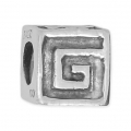 Big hole Geometric bead 8x8 mm Oxidized 925 Sterling Silver x1