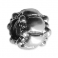 Big hole Domed bead 9x8 mm Oxidized 925 Sterling Silver x1
