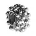 Big hole Studded bead 11x6 mm Oxidized 925 Sterling Silver x1