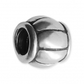 Big hole Striped Round bead 8x7 mm Oxidized 925 Sterling Silver x1