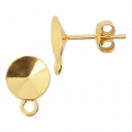 Earstuds with 1 closed loop for Swarovski cabochons 1122 8 mm Golden 925 Sterling Silver x2