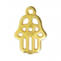 Hand of fatma charm 15x10 mm Gold Tone x1