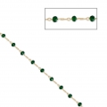 Chain with faceted glass bead 2.95 mm Gold Tone/Emerald x1m